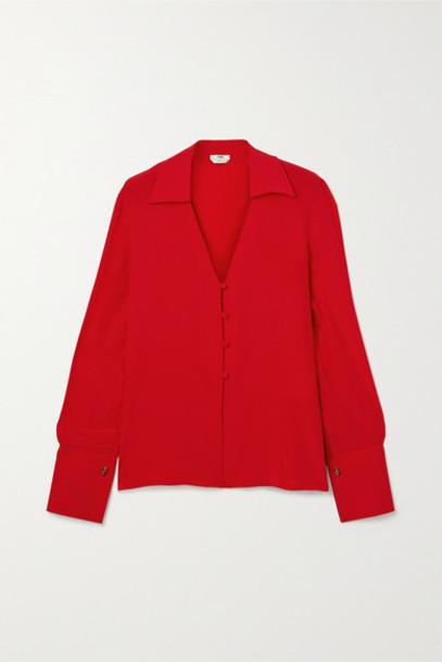 Fendi - Embroidered Silk Crepe De Chine Blouse in red
