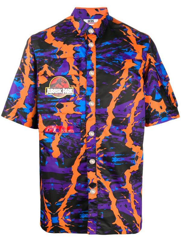 Gcds abstract print multi-pocket shirt in purple