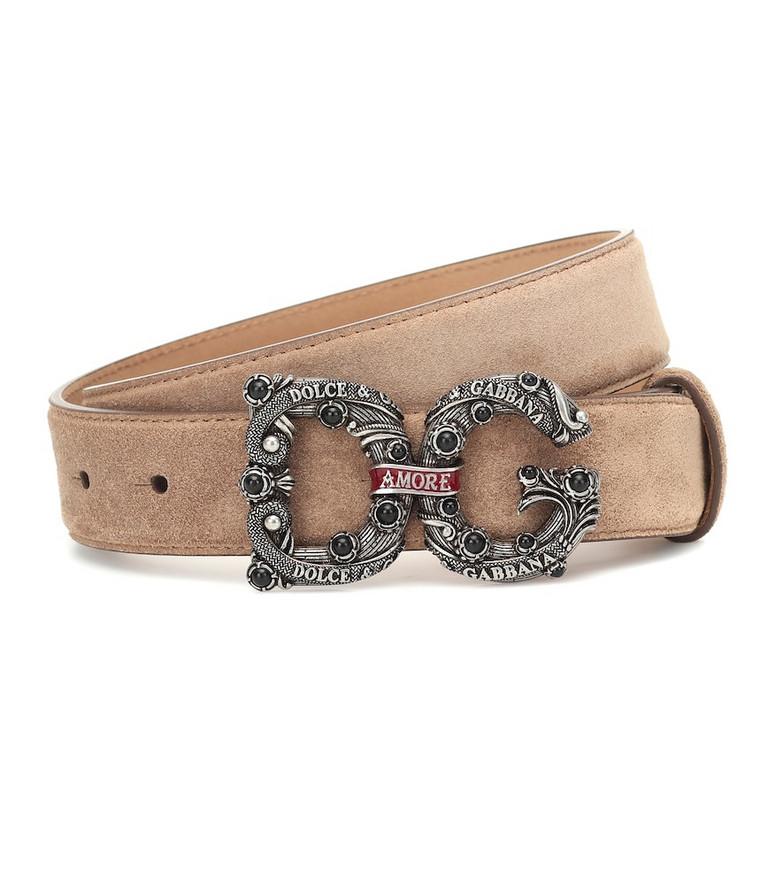 Dolce & Gabbana DG suede belt in beige