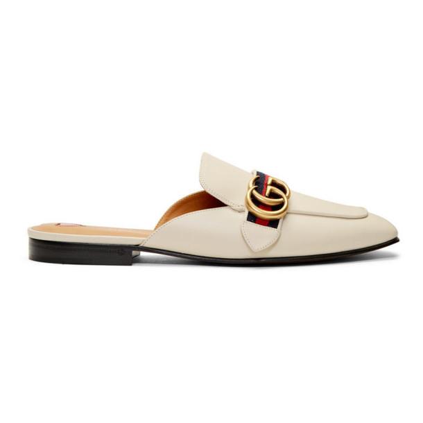 Gucci White Peyton Slippers