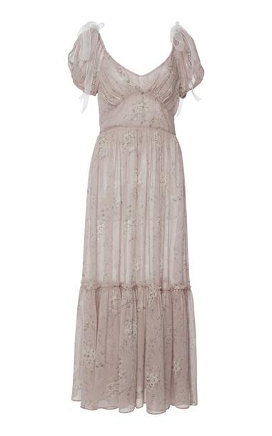 LoveShackFancy Angie Floral-Print Silk-Chiffon Maxi Dress Size: 10 in pink