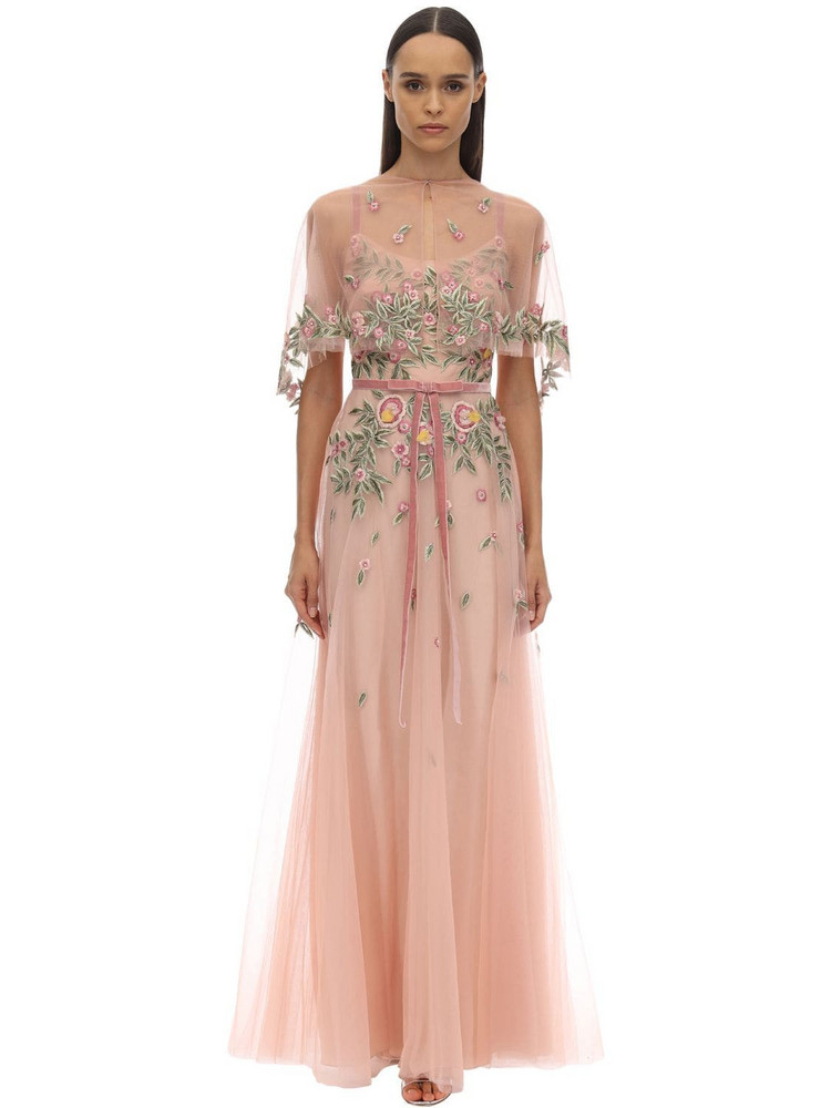 MARCHESA NOTTE Long Embroidered Caped Tulle Dress in pink
