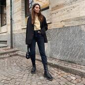 jacket,black blazer,black boots,black jeans,shirt,black bag