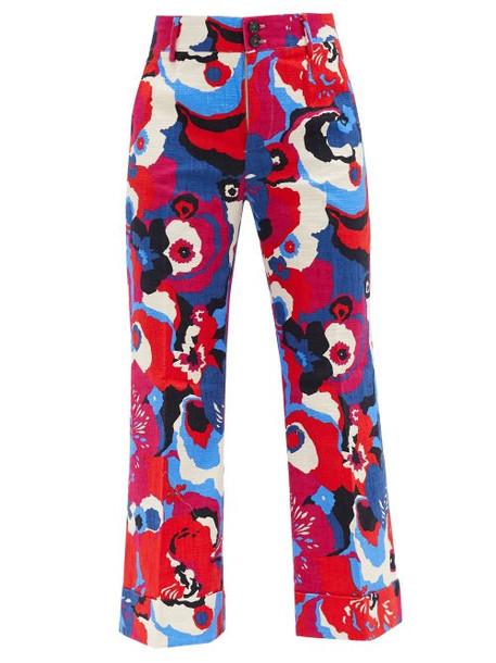 La DoubleJ - Hendrix Big Flower-print Cotton-blend Trousers - Womens - Red Multi