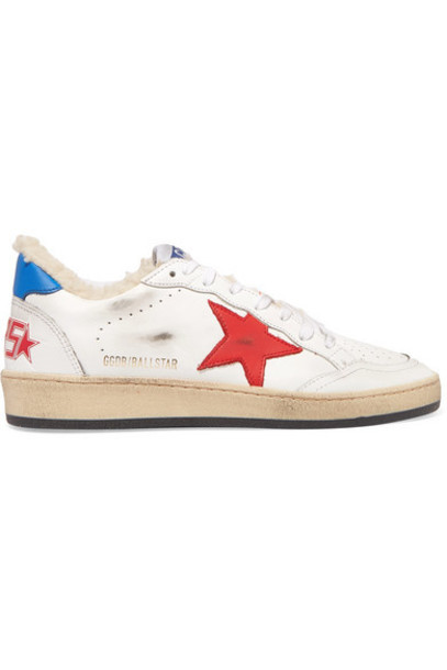 Golden Goose - Ball Star Shearling-lined Distressed Leather Sneakers - White
