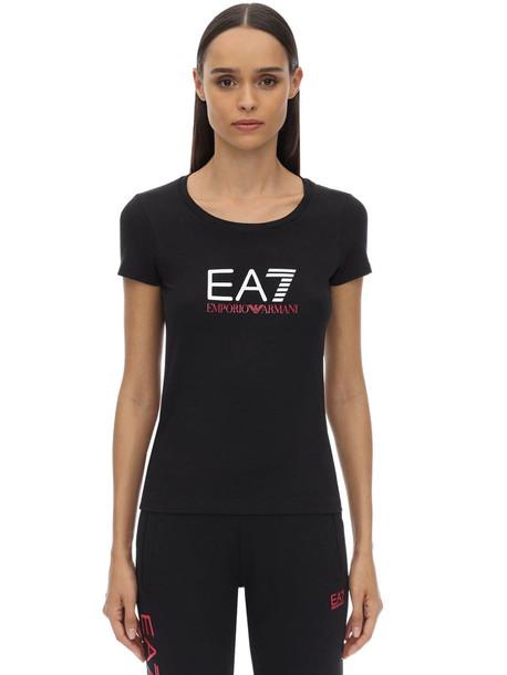 EA7 EMPORIO ARMANI Train Logo Stretch Cotton Jersey T-shirt in black