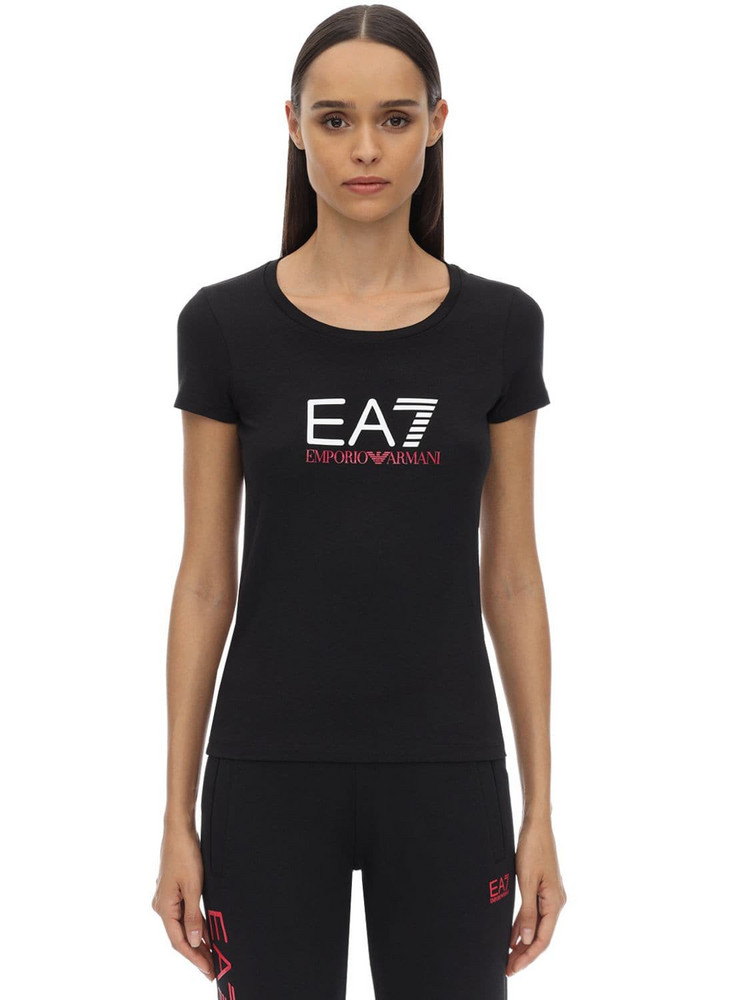 EA7 EMPORIO ARMANI Train Logo Stretch Cotton Jersey T-shirt in black