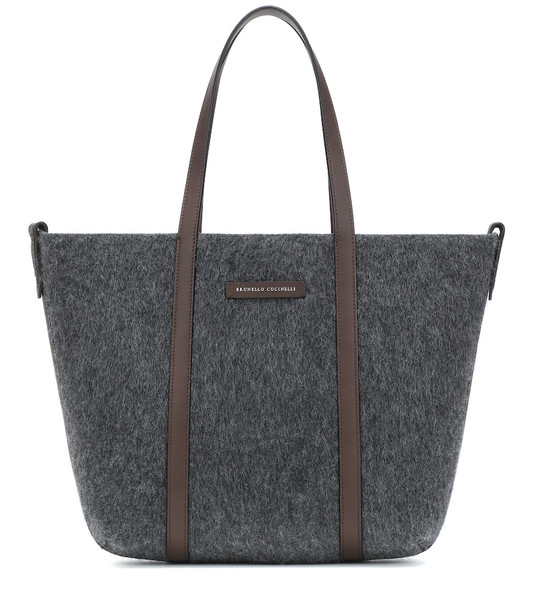 Brunello Cucinelli Leather-trimmed calf hair tote in grey
