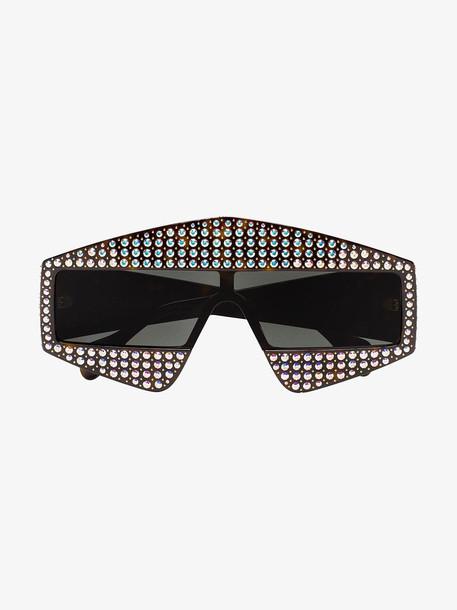 Gucci Eyewear crystal tortoiseshell rectangular-frame sunglasses in black