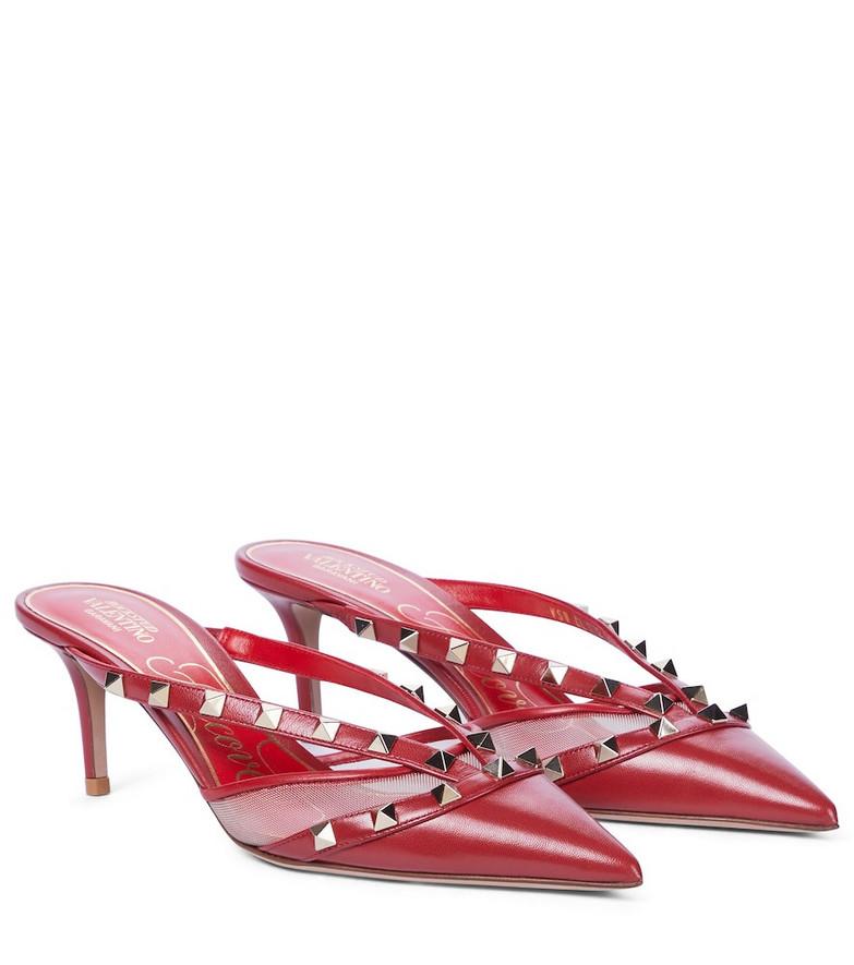 Valentino Garavani Rockstud Alcove leather mules in red