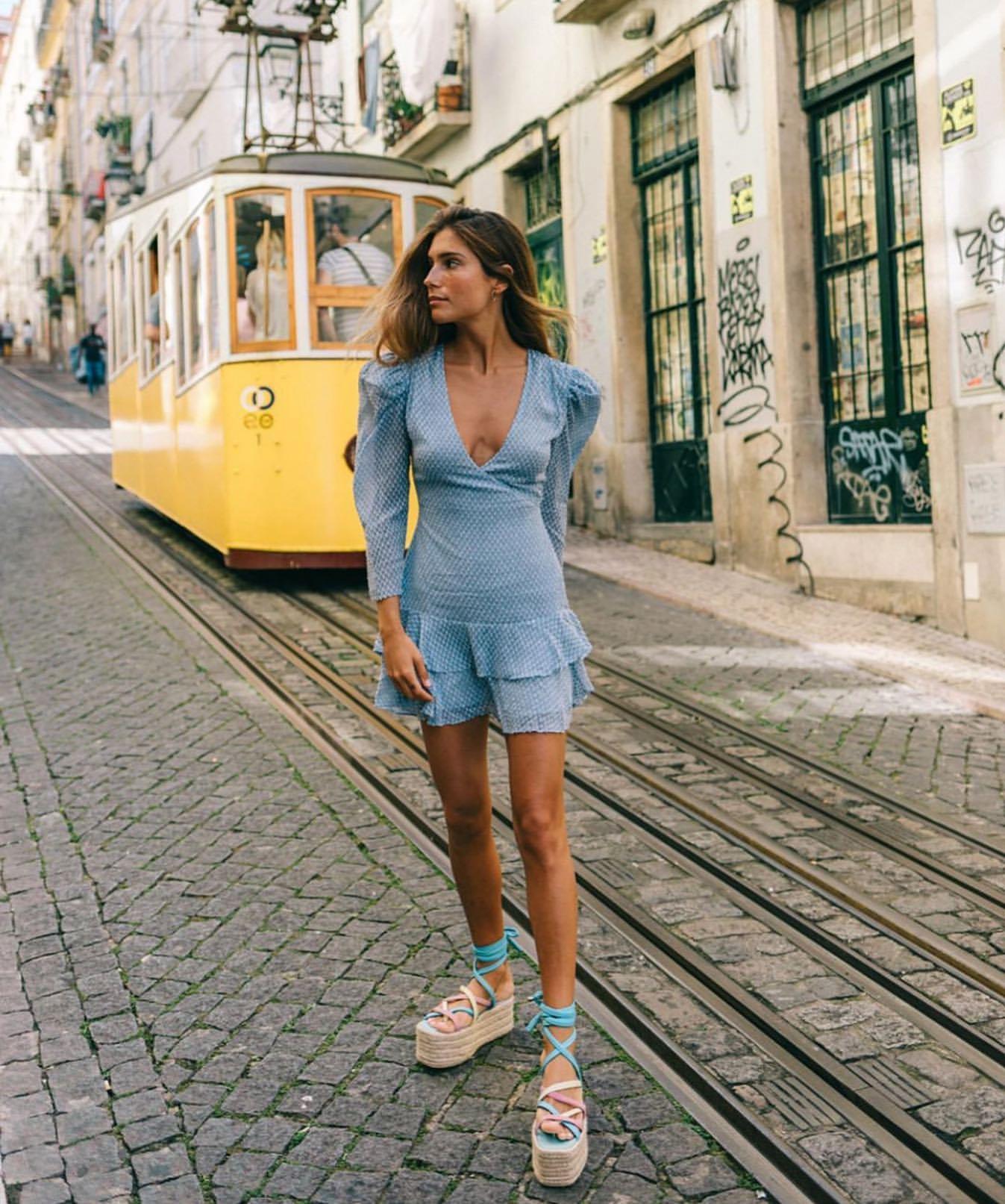 dress blue dress mini dress long sleeve dress platform sandals