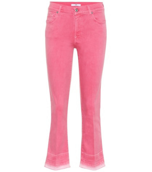 7 For All Mankind Cropped mid-rise bootcut jeans in pink