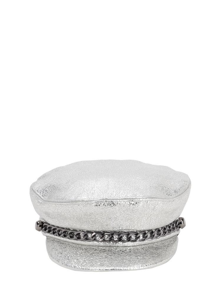 EUGENIA KIM Marina Metallic Leather Hat W/chain in silver