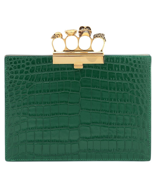 Alexander McQueen Jewelled Four-Ring Small clutch in green