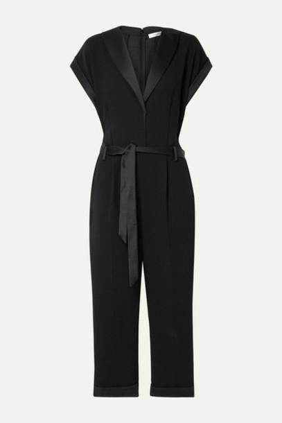 FRAME - Tux Belted Satin-trimmed Crepe Jumpsuit - Black