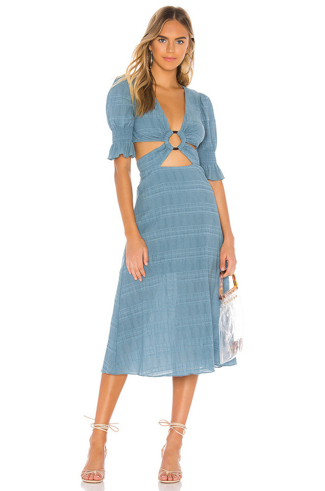 Tularosa Nanette Midi Dress in blue