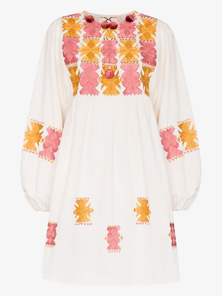 Figue Lucie embroidered cotton mini dress in white