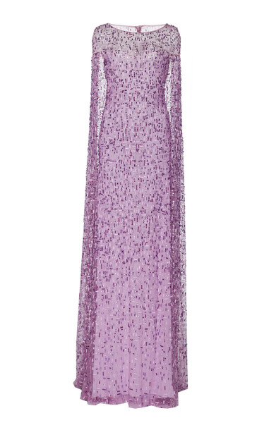 Pamella Roland Beaded Cape-Overlay Tulle Gown in purple
