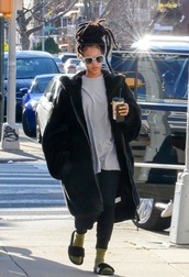 coat,black,winter coat,fur coat,rihanna style