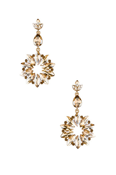 SHASHI Sunburst Crystal Drop Champagne Earring in gold / metallic
