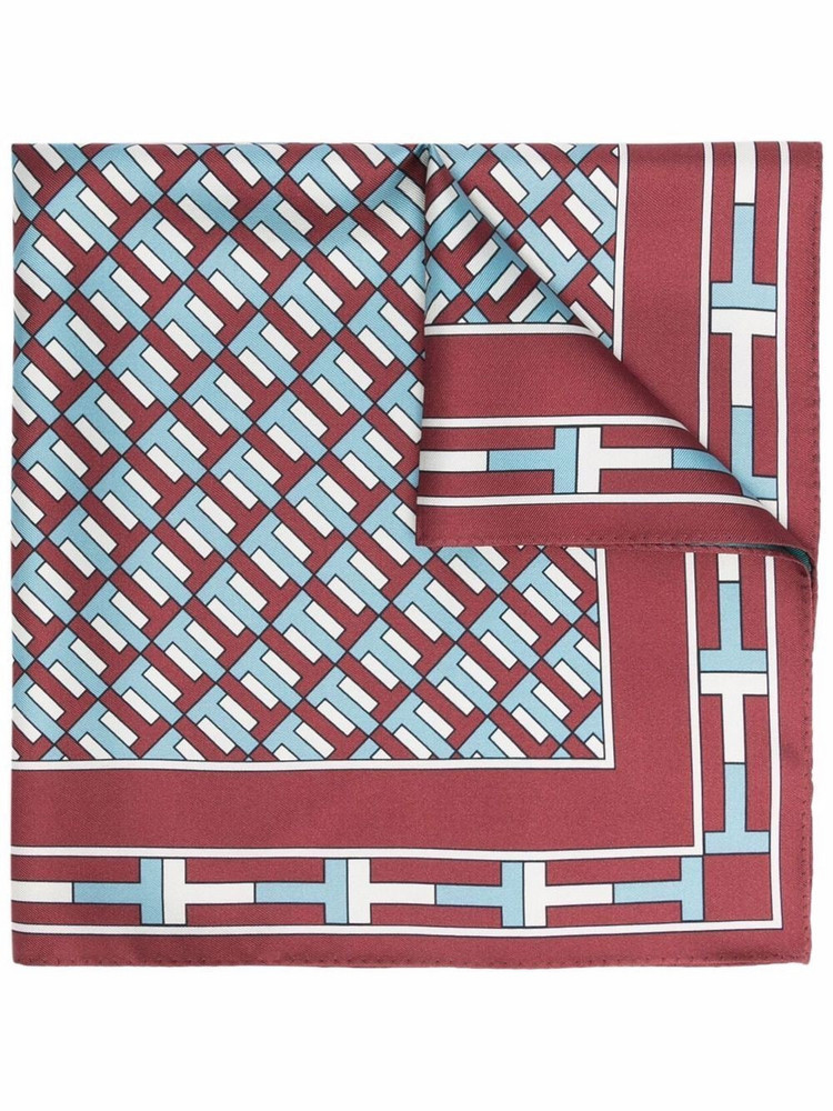 Tory Burch geometric embroidered silk scarf in red