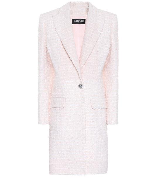 Balmain Single-breasted tweed coat in pink