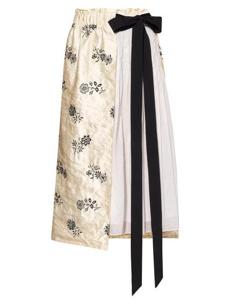 Erdem - Elfrida Floral-embroidered Satin And Voile Skirt - Womens - Ivory Multi