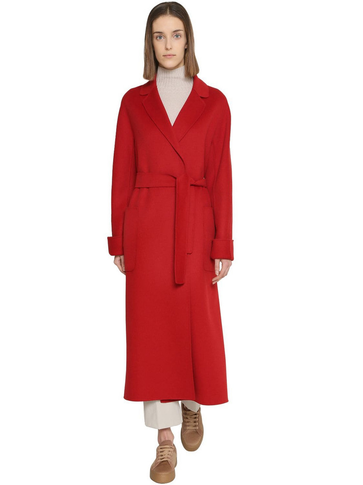 MAX MARA 'S Belted Long Wool Coat in red