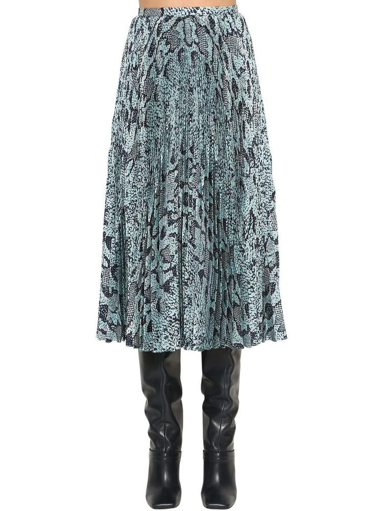ROBERTO CAVALLI Satin Python Print Pleated Midi Skirt in black / blue