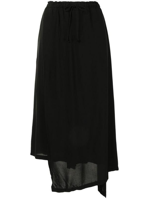 Yohji Yamamoto drawstring draped trousers in black