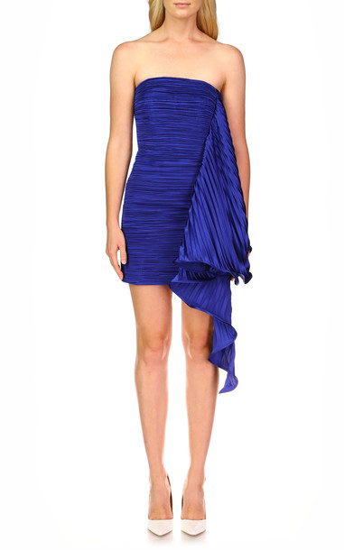 AMUR Kayleigh Draped Satin Mini Dress in blue