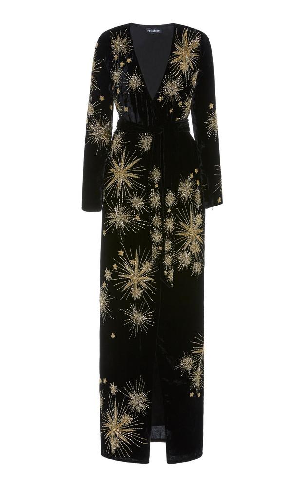 Retrofête Rita Embellished Velvet Maxi Dress in multi