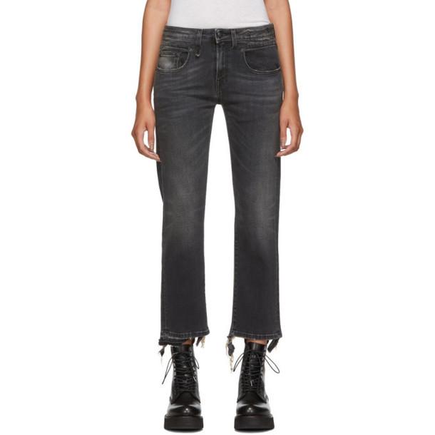 R13 Black Straight Cropped Boy Jeans