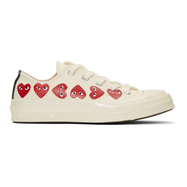 Comme des Garçons Play Off-White Converse Edition Multiple Hearts Chuck 70 Sneakers