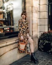 dress,slit dress,floral dress,midi dress,long sleeve dress,black boots,ankle boots,bucket bag