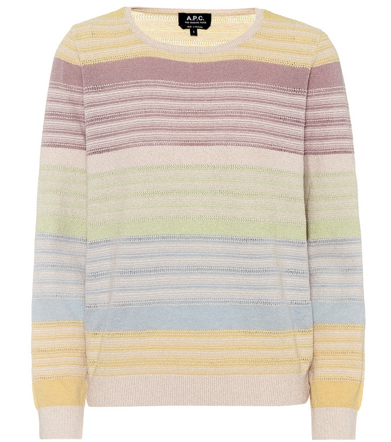 A.P.C. Wave striped cotton-blend sweater
