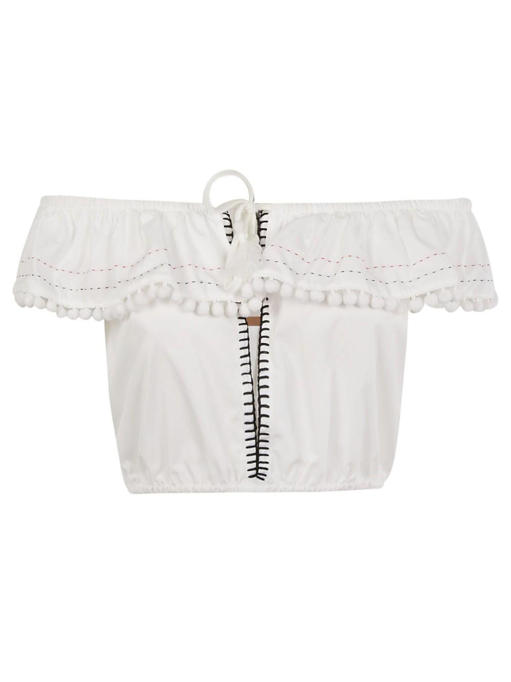 Miu Miu Cropped Top in white