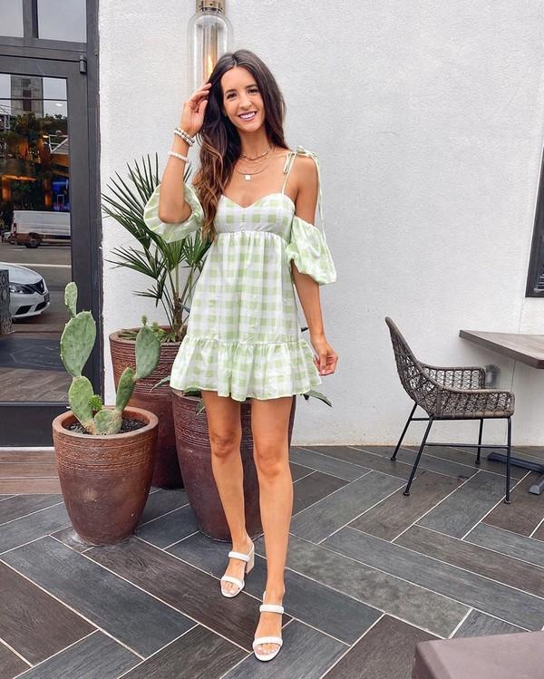 dress mini dress plaid dress white sandals