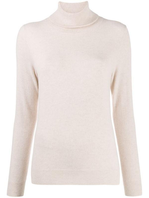 N.Peal fine knit polo neck jumper in neutrals