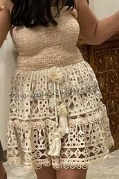 dress,shirred top,crochet bottom,maybe in italy?,tan,boho dress