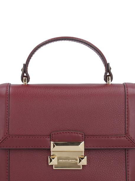 Michael Kors Jayne Pebbled Leather Handbag in burgundy