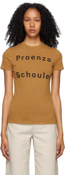 Proenza Schouler Tan Proenza Schouler White Label Logo T-Shirt in khaki