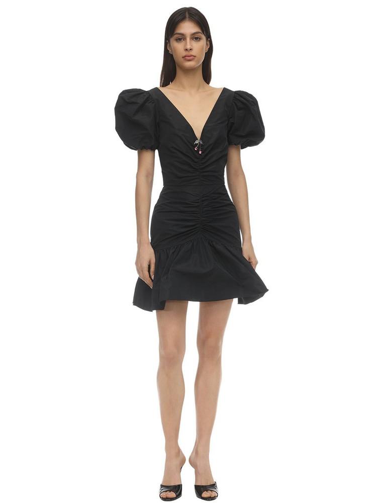 BROGNANO Draped Nylon Mini Dress in black