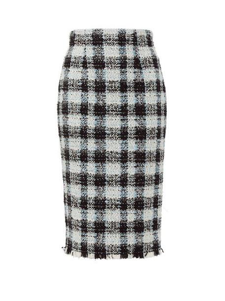 Alexander Mcqueen - Checked Tweed Pencil Skirt - Womens - Light Blue