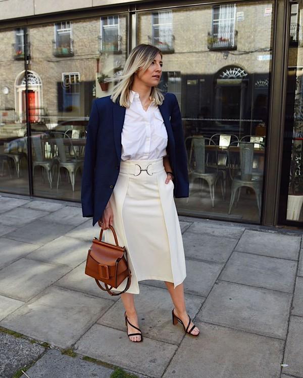 skirt midi skirt mango handbag sandal heels blazer shirt