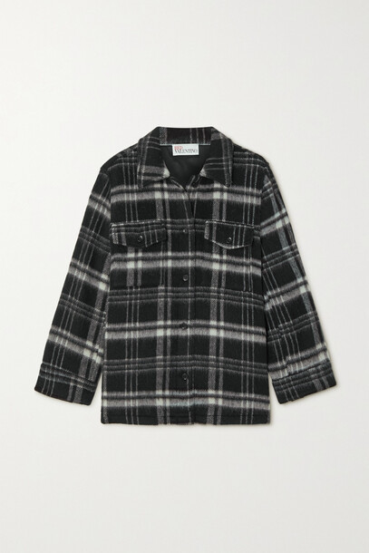 REDValentino - Pleated Checked Wool-blend Jacket - Black