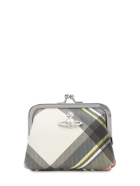VIVIENNE WESTWOOD Emma Coated Canvas Coin Purse in brown / white