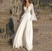 dress,off-white,boho,flare sleeve,white dress,crochet,maxi dress