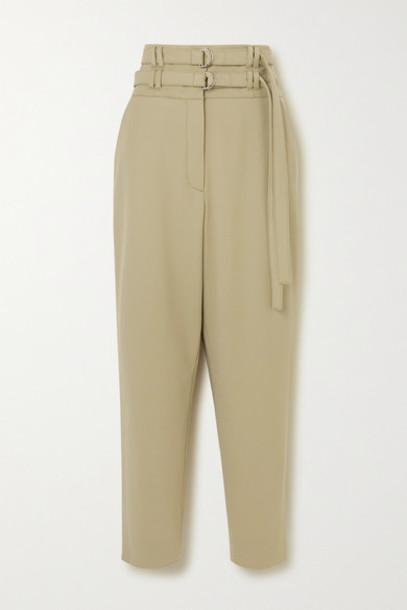 Proenza Schouler - Belted Wool-blend Tapered Pants - Beige