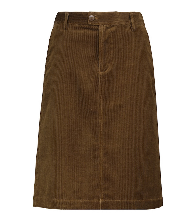 A.P.C. Carry stretch-corduroy midi skirt in brown
